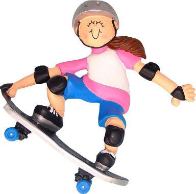 Brunette Female Skateboarder Christmas Ornament