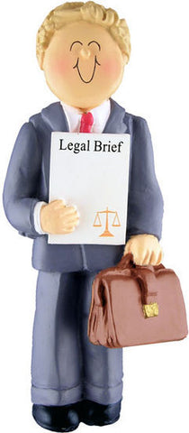 Blonde Male Lawyer Christmas Ornament
