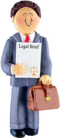 Brown Hair Male Lawyer Christmas Ornament