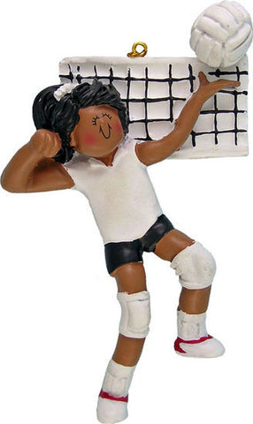 African-American Female Volleyball Player Christmas Ornament