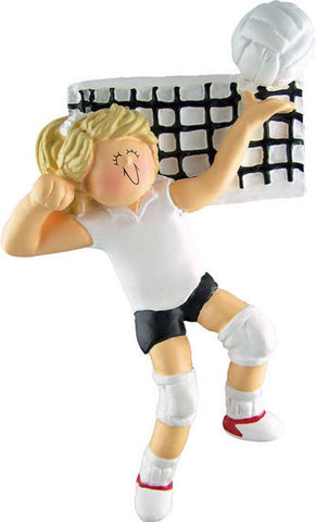 Blonde Female Volleyball Player Christmas Ornament