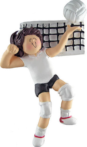 Brunette Female Volleyball Player Christmas Ornament