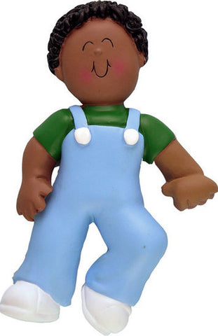 African-American Male Baby's First Step Christmas Ornament