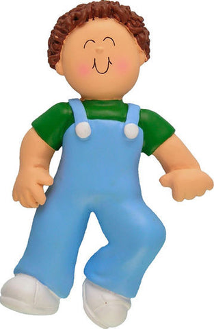 Brown Hair Male Baby's First Step Christmas Ornament