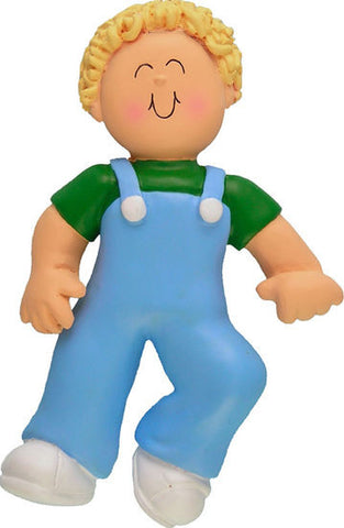 Blonde Male Baby's First Step Christmas Ornament