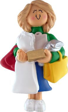 Blonde Female Shopper Christmas Ornament
