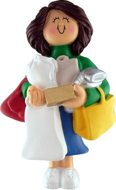 Brunette Female Shopper Christmas Ornament
