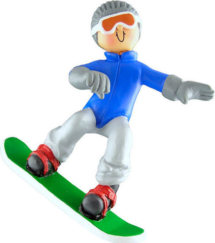 Male Snowboarder Christmas Ornament