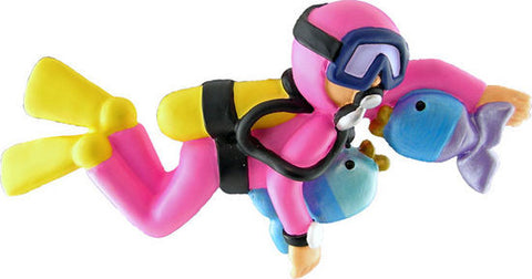 Female Scuba Diver Christmas Ornamnt