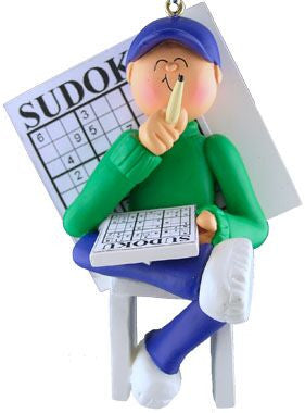 Male Sudoku Christmas Ornament