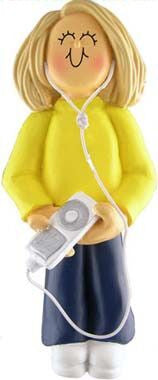 Blonde Female with MP3 Player Christmas Ornament