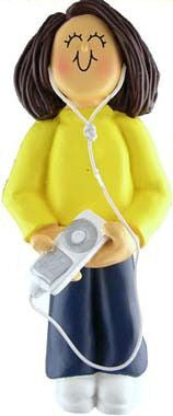 Brunette Female with MP3 Player Christmas Ornament