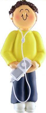 Male with MP3 Player Christmas Ornament