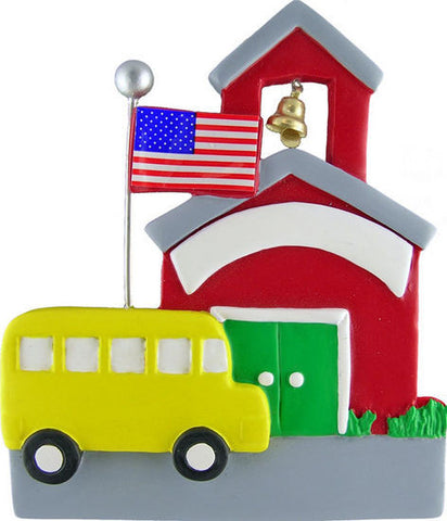 School House with Bus Christmas Ornament
