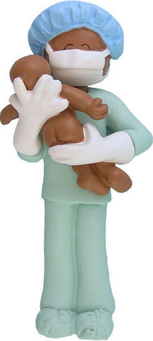 African-American Obstetrician Christmas Ornament