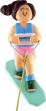 Female Wakeboarder Christmas Ornament