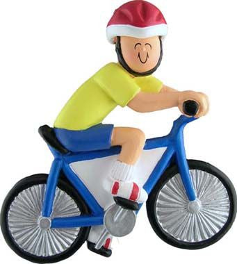 Male Bike Rider Christmas Ornament