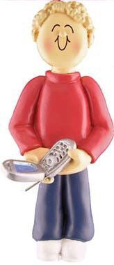 Male with Cell Phone Christmas Ornament