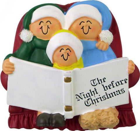 Family of Three Reading on Couch Christmas Ornament