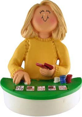 Blonde Female Poker Player Christmas Ornament