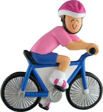 Female Bike Rider Christmas Ornament