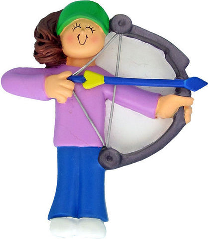 Brunette Female Archery Christmas Ornament