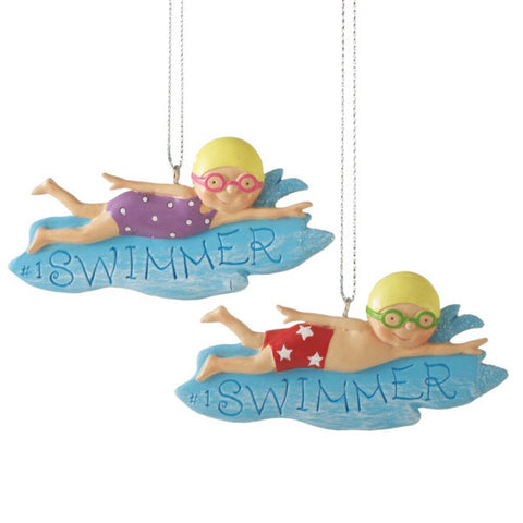 Boy and Girl Swimmer Christmas Ornament (set of 2)