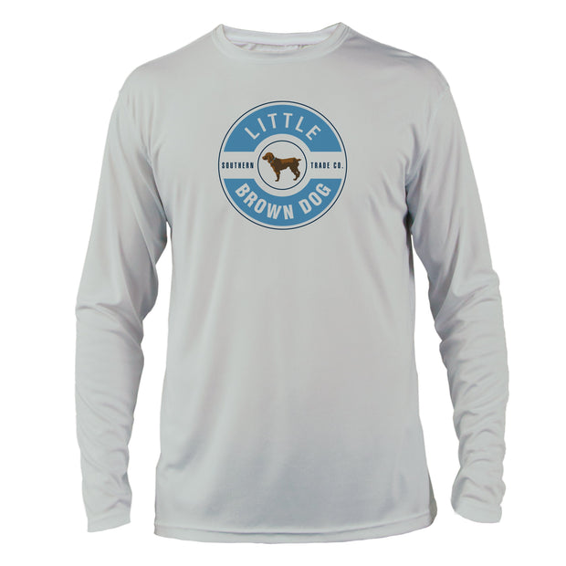 Sky Blue + Navy Collegiate Colors Front Logo UPF 50+ Sun Protection Performance Shirt - Little Brown Dog Southern Trade Co