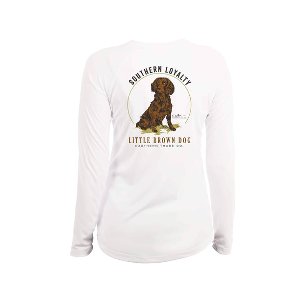 Southern Loyalty by Gordon Allen Women's UPF 50+ Sun Protection Performance Long Sleeve T-Shirt T-Shirt Little Brown Dog Southern Trade Co White Small
