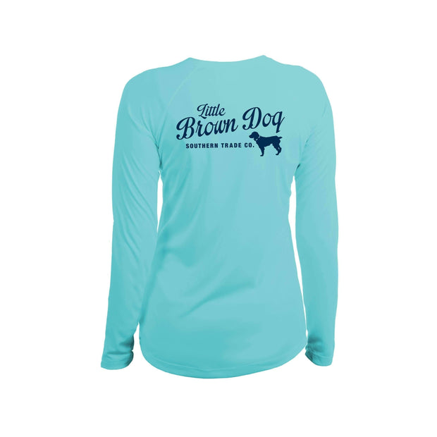 Pop Bottle Women's UPF 50+ Sun Protection Performance Long Sleeve T-Shirt Long Sleeve T-Shirt Little Brown Dog Southern Trade Co Water Blue Small