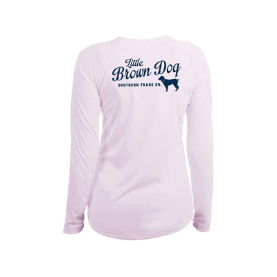 Pop Bottle Women's UPF 50+ Sun Protection Performance Long Sleeve T-Shirt Long Sleeve T-Shirt Little Brown Dog Southern Trade Co Pink Blossom Small