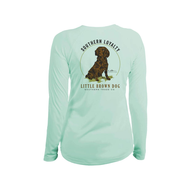 Southern Loyalty by Gordon Allen Women's UPF 50+ Sun Protection Performance Long Sleeve T-Shirt T-Shirt Little Brown Dog Southern Trade Co Seagrass Small