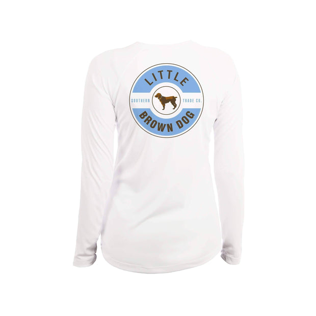 Little Brown Dog Classic Logo Women's UPF 50+ Sun Protection Long Sleeve T-Shirt T-Shirt Little Brown Dog Southern Trade Co White Small