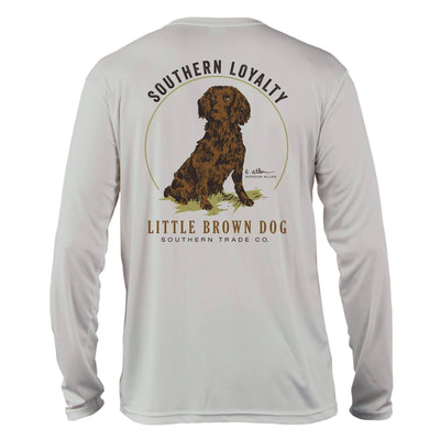 Southern Loyalty by Gordon Allen UPF 50+ Sun Protection Performance Long Sleeve T-Shirt T-Shirt Little Brown Dog Southern Trade Co Small Pearl Grey