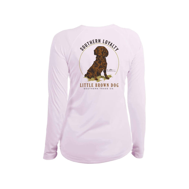 Southern Loyalty by Gordon Allen Women's UPF 50+ Sun Protection Performance Long Sleeve T-Shirt T-Shirt Little Brown Dog Southern Trade Co Pink Blossom Small