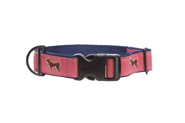 Little Brown Dog Collar - Savannah Red/Navy - Little Brown Dog Southern Trade Co