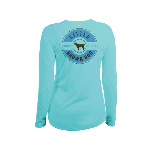 Little Brown Dog Classic Logo Women's UPF 50+ Sun Protection Long Sleeve T-Shirt T-Shirt Little Brown Dog Southern Trade Co Water Blue Small