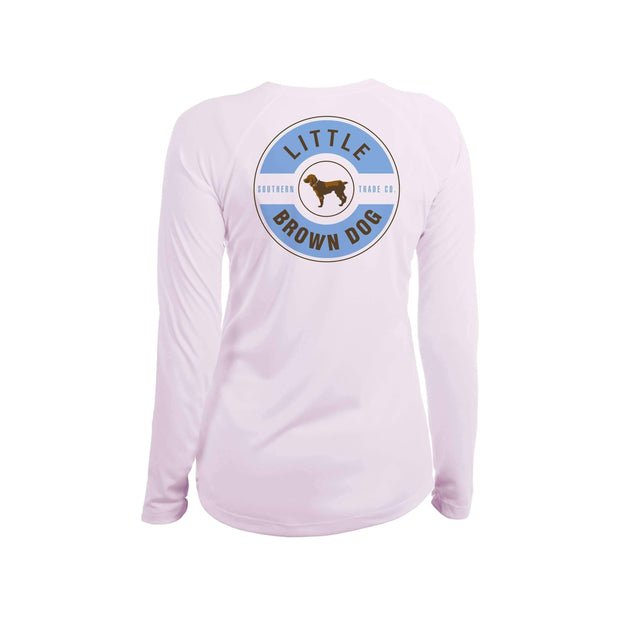 Little Brown Dog Classic Logo Women's UPF 50+ Sun Protection Long Sleeve T-Shirt T-Shirt Little Brown Dog Southern Trade Co Pink Blossom Small