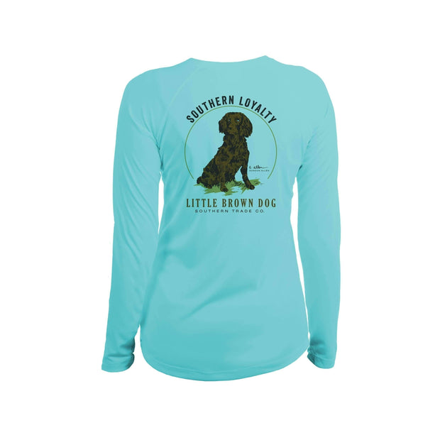 Southern Loyalty by Gordon Allen Women's UPF 50+ Sun Protection Performance Long Sleeve T-Shirt T-Shirt Little Brown Dog Southern Trade Co Water Blue Small
