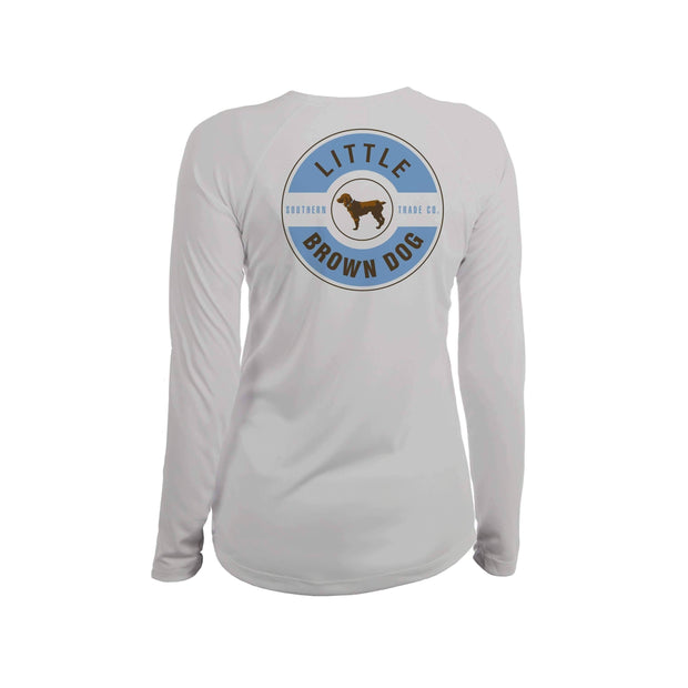 Little Brown Dog Classic Logo Women's UPF 50+ Sun Protection Long Sleeve T-Shirt T-Shirt Little Brown Dog Southern Trade Co Pearl Grey Small