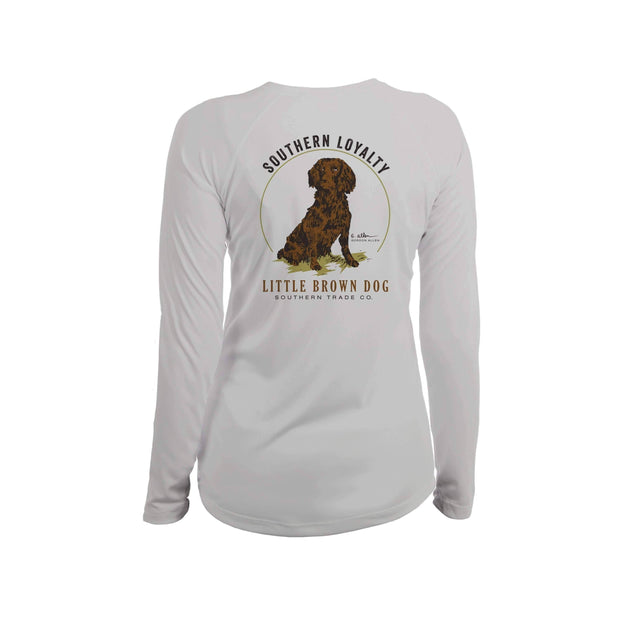 Southern Loyalty by Gordon Allen Women's UPF 50+ Sun Protection Performance Long Sleeve T-Shirt T-Shirt Little Brown Dog Southern Trade Co Pearl Grey Small
