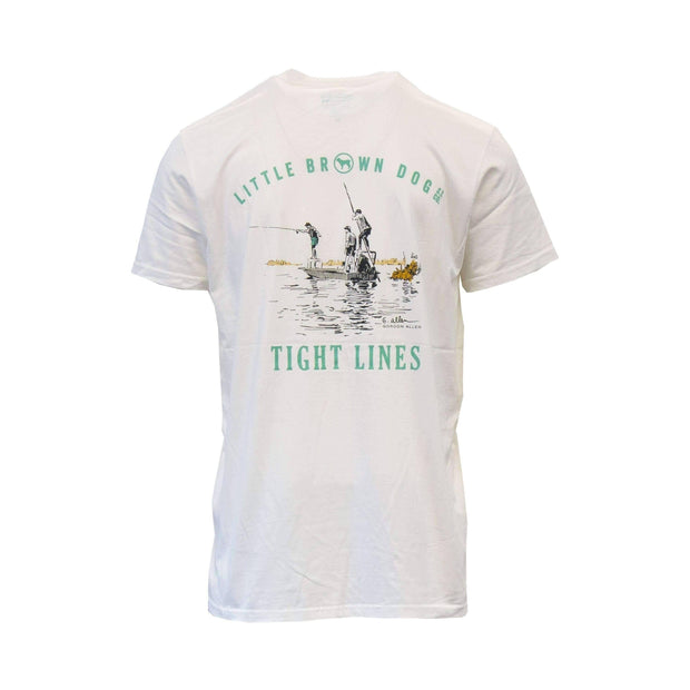 Copy of Tight Lines by Gordon Allen Short Sleeve T-Shirt T-Shirt Little Brown Dog Southern Trade Co Sugar White S