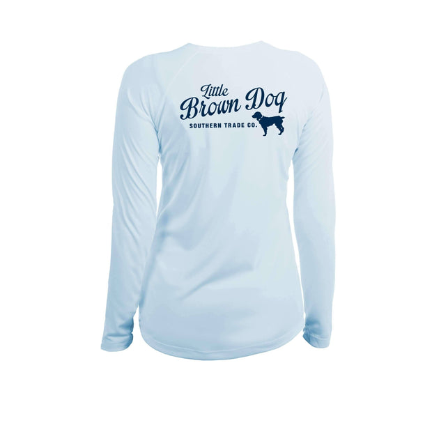 Pop Bottle Women's UPF 50+ Sun Protection Performance Long Sleeve T-Shirt Long Sleeve T-Shirt Little Brown Dog Southern Trade Co Arctic Blue Small