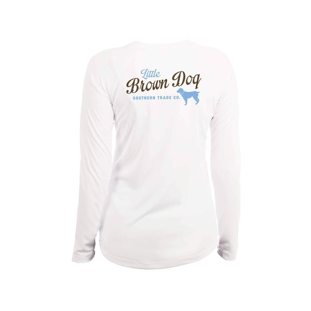 Pop Bottle Women's UPF 50+ Sun Protection Performance Long Sleeve T-Shirt Long Sleeve T-Shirt Little Brown Dog Southern Trade Co White Small