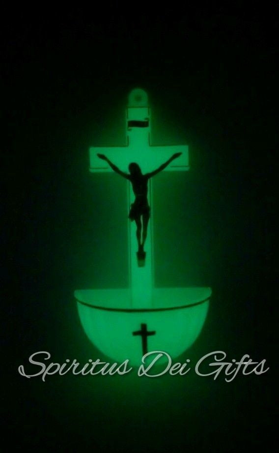 Holy Water Font Glow In The Dark As612 Spiritus Dei Religious Gifts