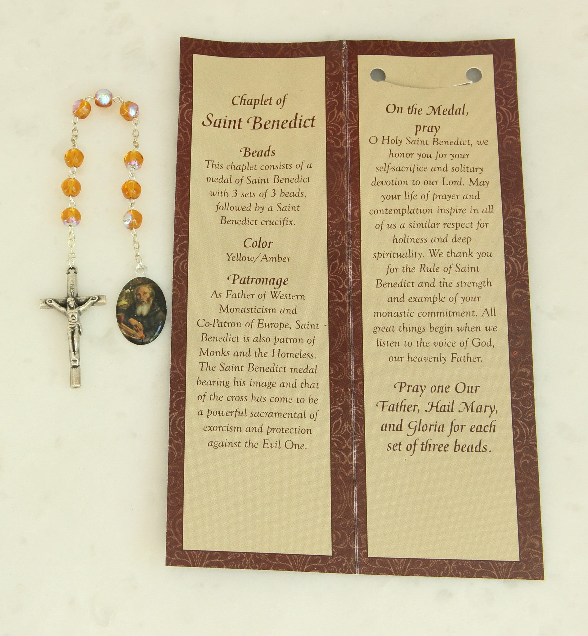 St  Benedict Chaplet Rosary San Benito Patron Saint of Monks / Poison  Sufferers -PS353 Relic