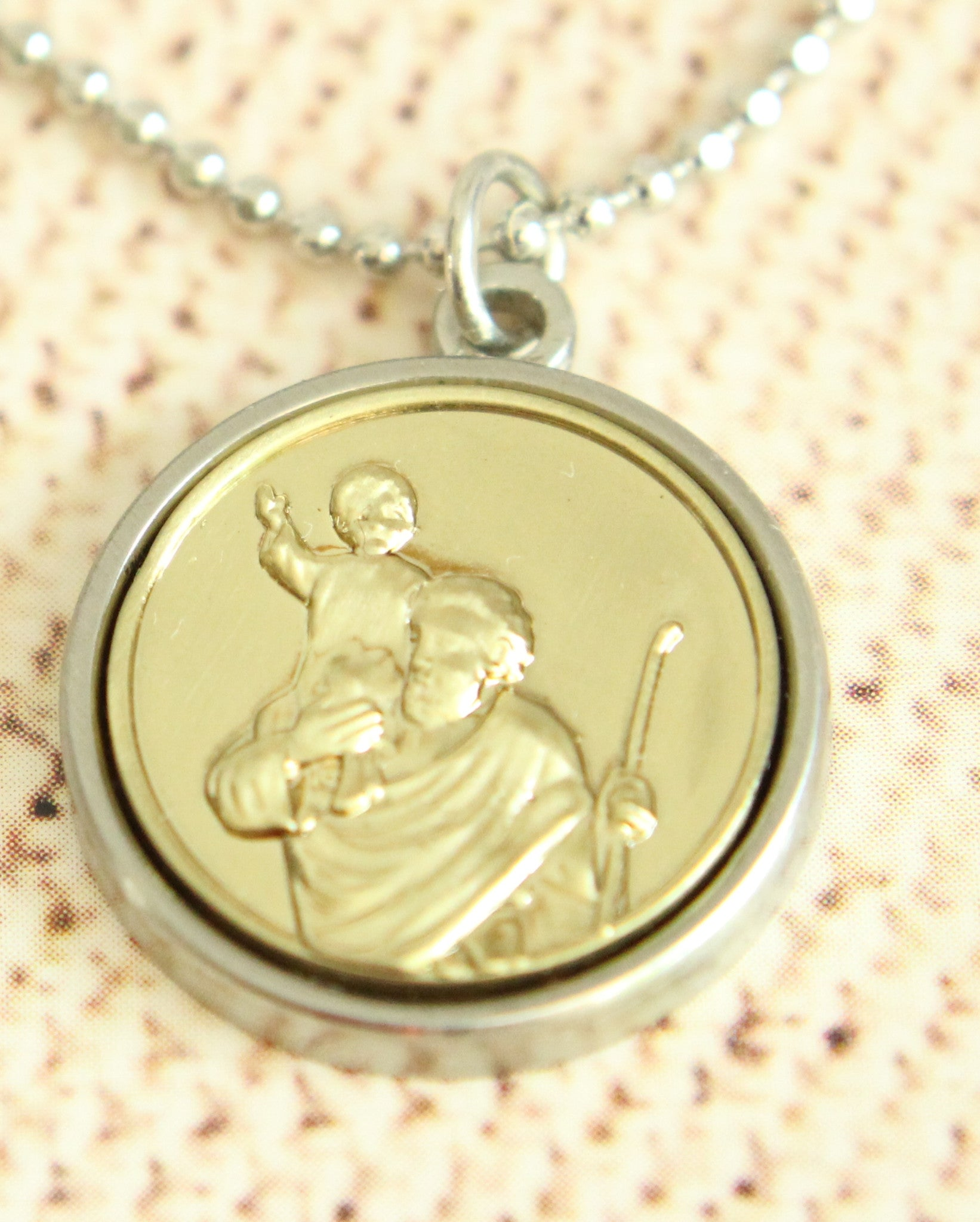 in sterling pendants hills black medallion necklace saint stock pendant gold silver christopher