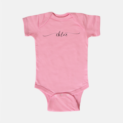 baby pink personalized onesie