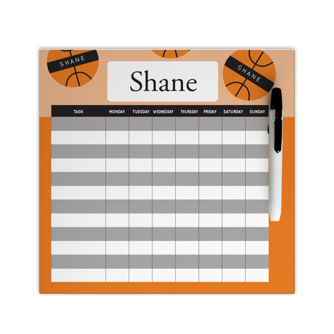 personalized basketball chore chart for boys