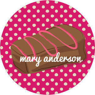 Chocolate Polka Dot Magenta Label